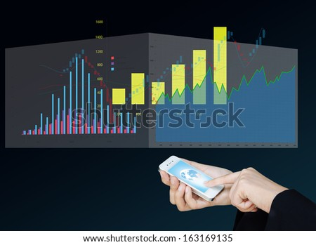 Touch screen mobile phone to display business graph, Design concept of technology and economic - stock photo