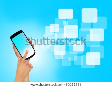Touch screen mobile phone with streaming images. - stock photo