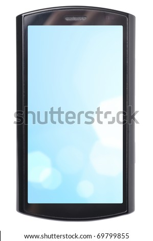 touch screen phone with blue abstract wallpaper. Display is cut with clipping path - stock photo