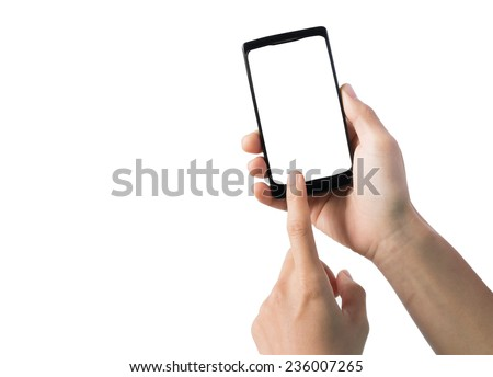 Touch screen smart phone, in hand
