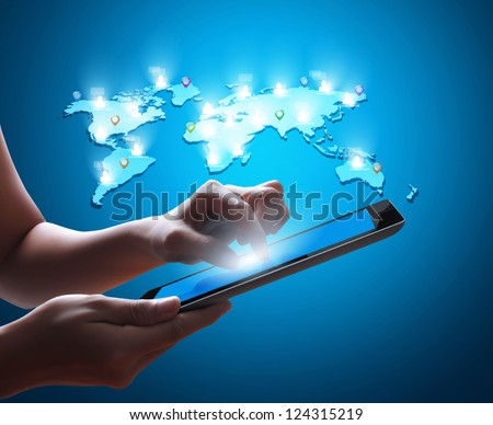 touch screen tablet and shows tablet - stock photo