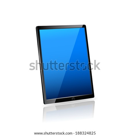 Touch screen tablet computer Isolated on white. Raster copy. - stock photo