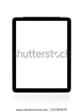 Touch screen tablet computer with white background. Isolated on white - stock photo