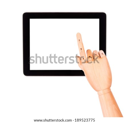touch screen tablet computer with wooden hand isolated on white background - stock photo