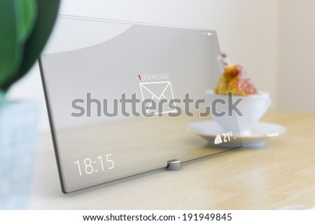 Touch screen tablet with email icon as concept - stock photo