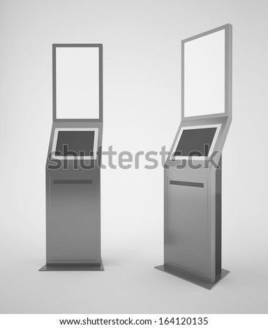 Touch screen terminal with advertising panel - stock photo