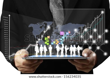 touch screen ,touch- tablet in hands businessmen - stock photo
