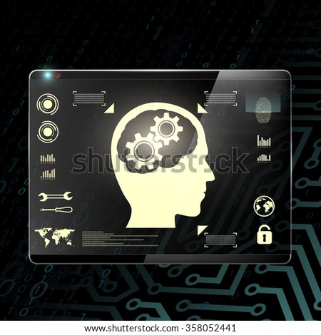 Touch screen with a human head and gears. Transparent display on a digital background. Stock illustration. - stock photo