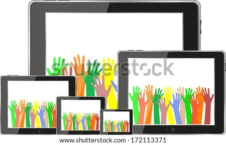touch tablet pc computer modern technology with hands - stock photo