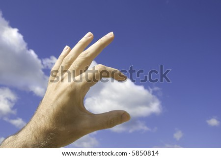 touch the sky(focus point on fingers, selective)