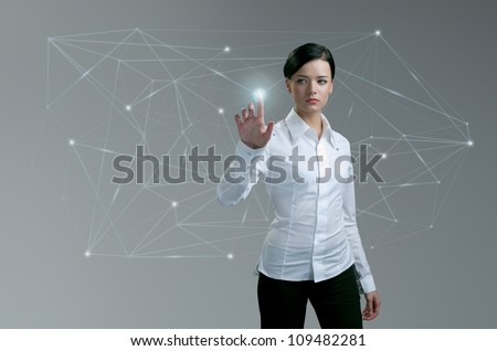 Touching button social network future interface, Businesswoman pressing light point push trigger in wireframe. Social network concept. Future collection series. - stock photo
