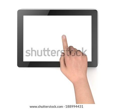 touching digital tablet
