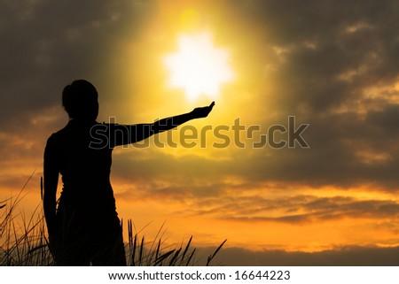 touching heaven - stock photo