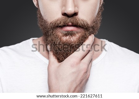Touching his perfect beard. Close-up of young bearded man touching his beard while standing against grey background - stock photo
