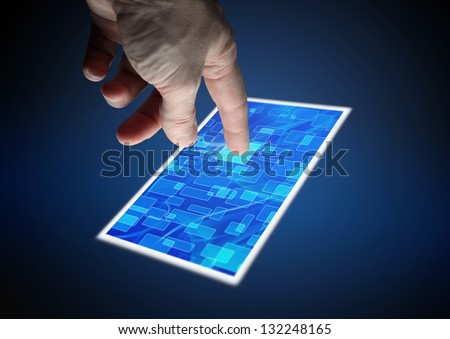 touching screen (with clipping path) - stock photo
