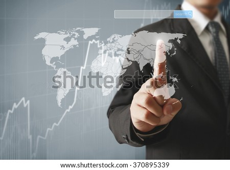 touching virtual a icon of social network - stock photo