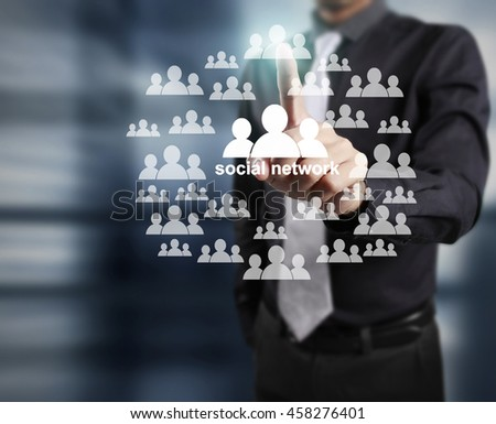 touching virtual a icon of social network