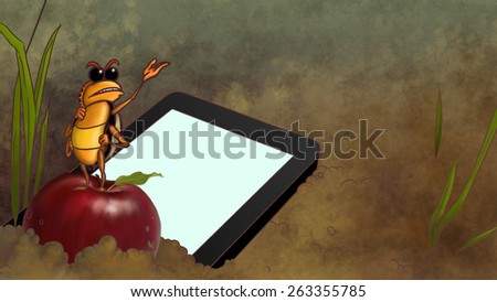 Touchpad dropped in the dirt. Smartphone lays on the ground next to the ant standing on the red apple. Blank screen of tablet computer. Digital tablet pc flat design concept.  - stock photo