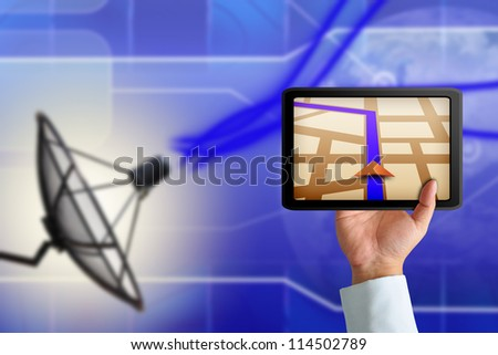 Touchpad gps with Satellite dish transmission data - stock photo
