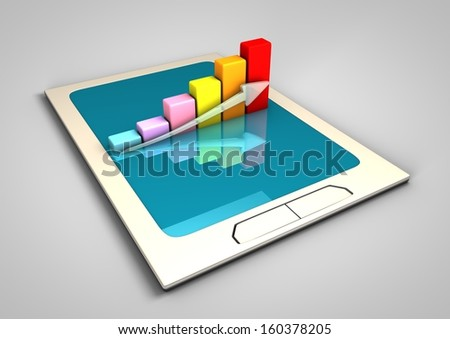 Touchpad with chart illustration - stock photo