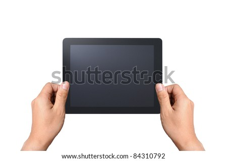 Touchpad with two hand, isolated on white - stock photo