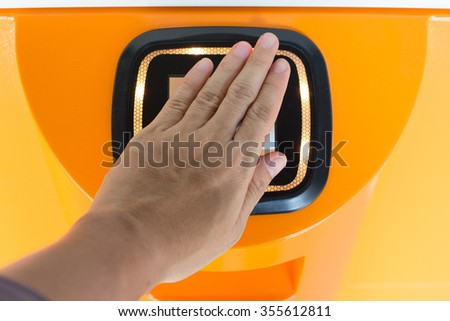 Touchpoint for electronic wallet technology. - stock photo