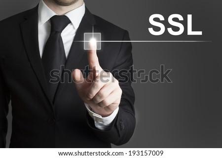 touchscreen button ssl - stock photo