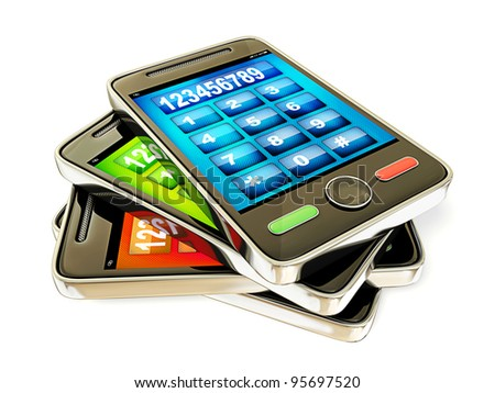 touchscreen mobile phone isolated on a white background.