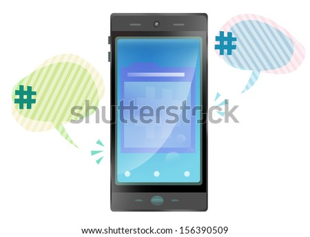 Touchscreen Mobile phone with Hashtag on Speech Balloon. Trending Concept. - stock photo
