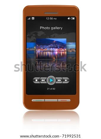 Touchscreen smart phone - stock photo
