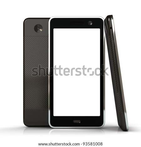 Touchscreen smart phone with abstract background isolated on the white background - stock photo
