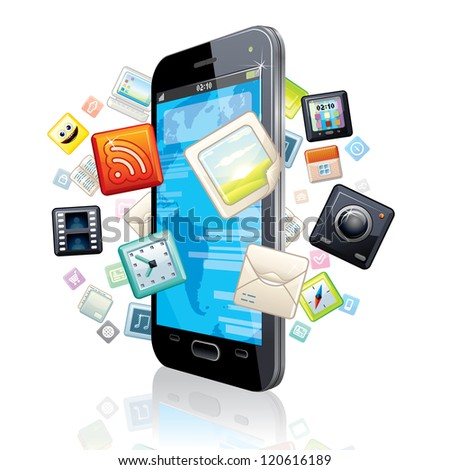 Touchscreen Smart Phone with Cloud of Media Application Icons. - stock photo