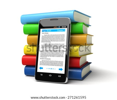 Touchscreen smartphone and Books (clipping path included) - stock photo