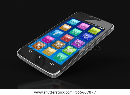 Touchscreen smartphone. Image with clipping path.