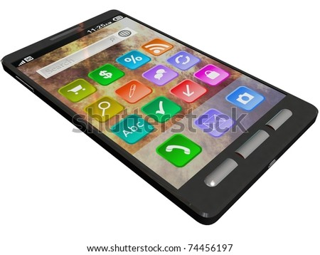 touchscreen smartphone isolated on white - stock photo