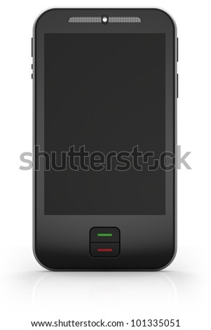 Touchscreen smartphone isolated on white background. Abstract 3d illustration.