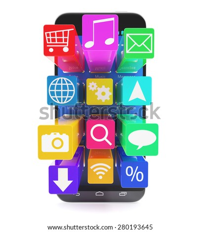 Touchscreen smartphone with applications as icons extruded from the screen, isolated on a white background. 3d illustration High resolution