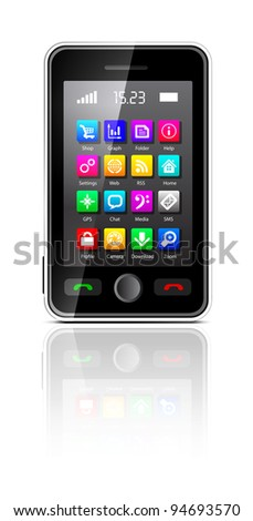 Touchscreen smartphone with applications icon on white