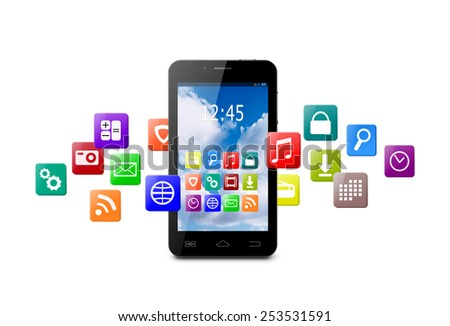 Touchscreen smartphone with cloud of colorful application icons on white background - stock photo