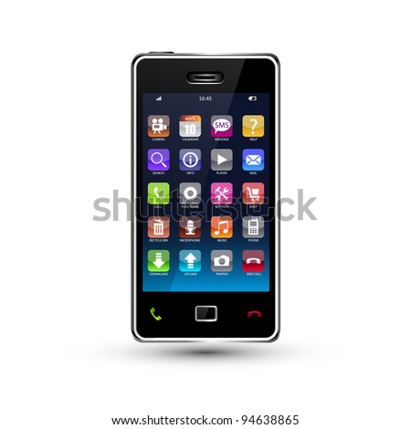 touchscreen smartphone with colorful application icons, vector version also available in my portfolio - stock photo