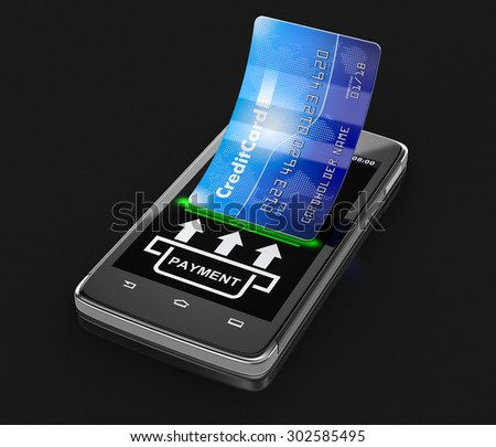 Touchscreen smartphone with credit card (clipping path included) - stock photo