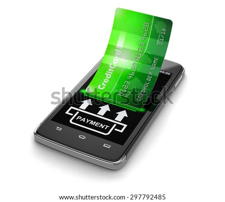 Touchscreen smartphone with credit card (clipping path included) Elements of this image furnished by NASA - stock photo