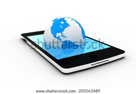 Touchscreen smartphone with Earth globe - stock photo