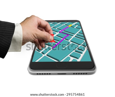Touchscreen smartphone with GPS navigation application, hand holding red pushpin marked on map, isolated on white. - stock photo
