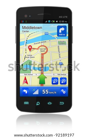 Touchscreen smartphone with GPS navigation isolated on white reflective background