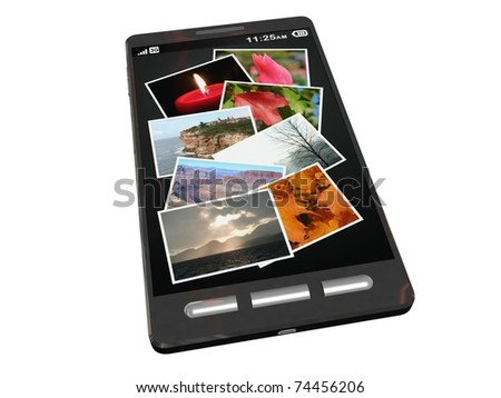 touchscreen smartphone with picture gallery app open