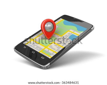 Touchscreen smartphone with Pointer. Image with clipping path. - stock photo