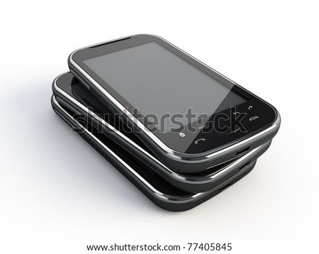 Touchscreen smartphones - stock photo