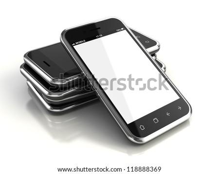 Touchscreen smartphones - 3d render - stock photo