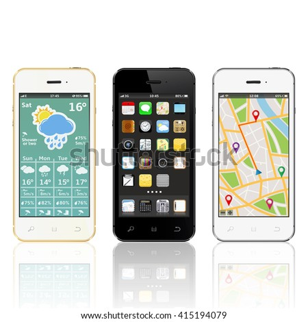 Touchscreen smartphones with widgets on screen - stock photo